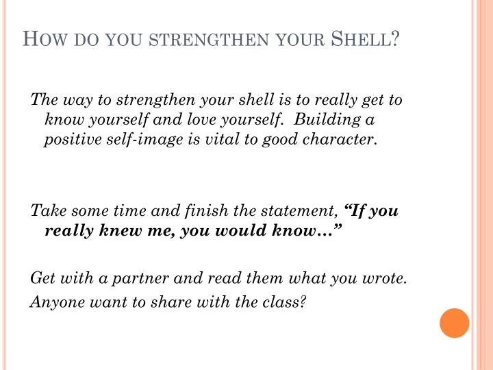 How do you strengthen your Shell?