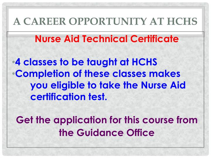 A Career Opportunity at HCHS