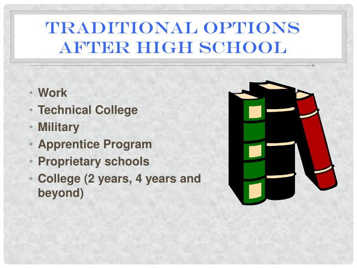 Traditional options after high school