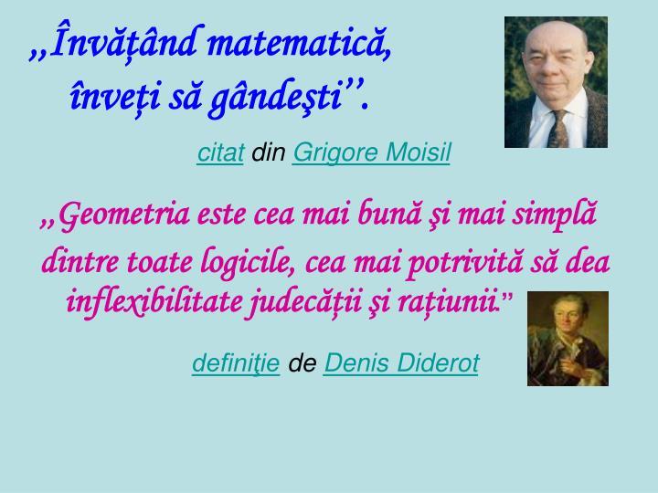 ,,Învăţând matematică,