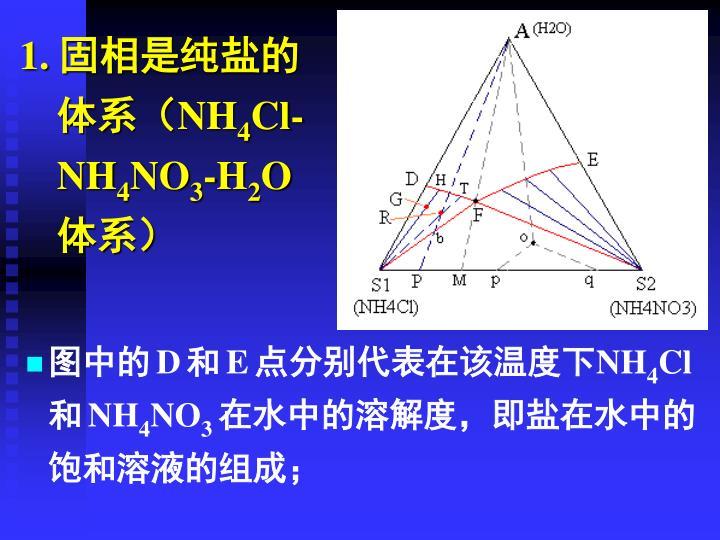 1. 固相是纯盐的体系(