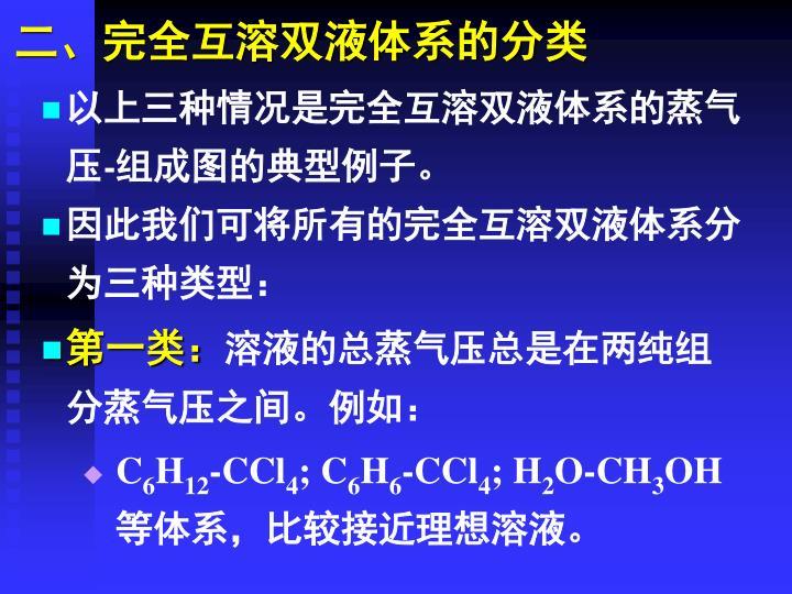 二、完全互溶双液体系的分类