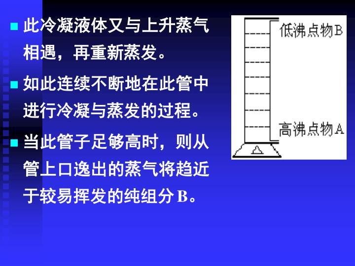 此冷凝液体又与上升蒸气相遇,再重新蒸发。