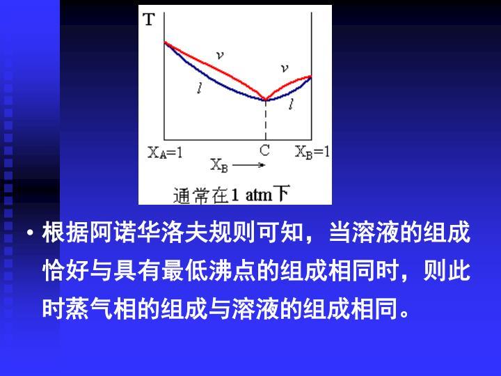 根据阿诺华洛夫规则可知,当溶液的组成恰好与具有最低沸点的组成相同时,则此时蒸气相的组成与溶液的组成相同。
