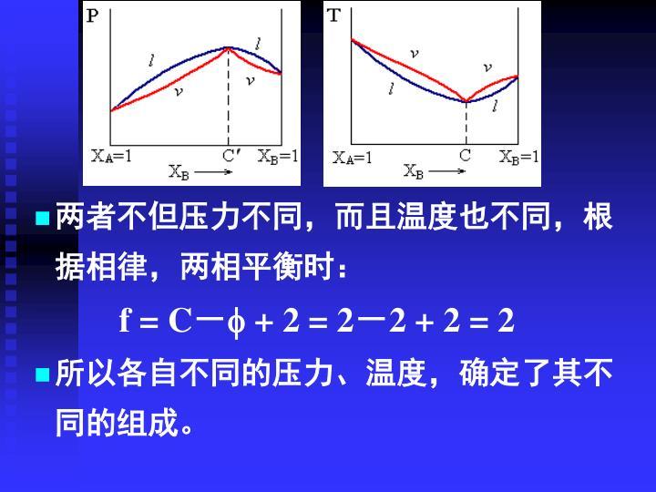 两者不但压力不同,而且温度也不同,根据相律,两相平衡时: