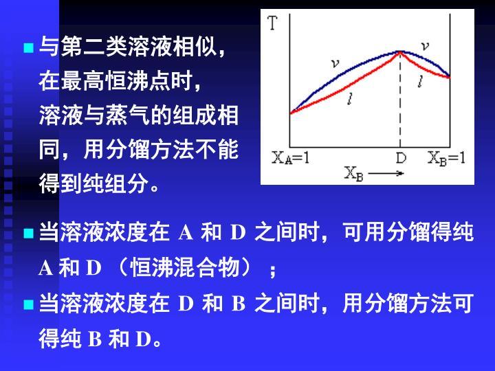 与第二类溶液相似,在最高恒沸点时,