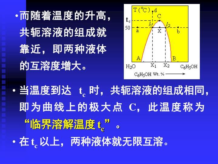 而随着温度的升高,共轭溶液的组成就靠近,即两种液体的互溶度增大。