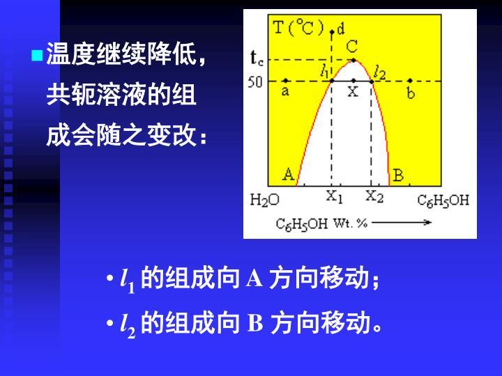 温度继续降低,共轭溶液的组成会随之变改: