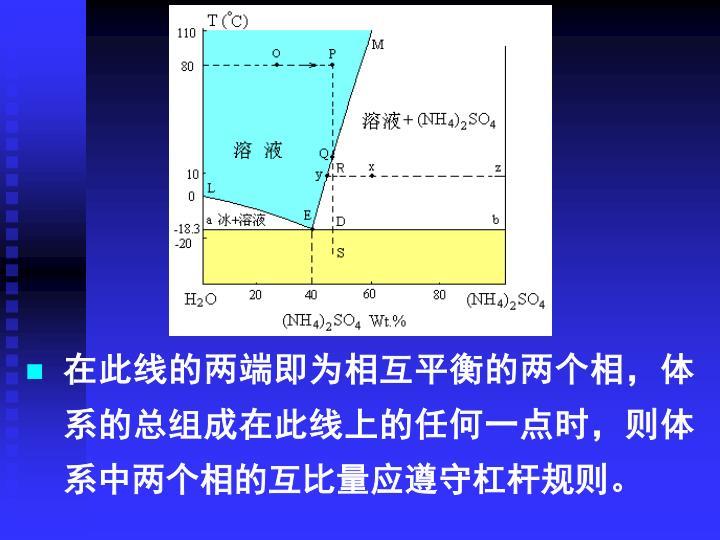 在此线的两端即为相互平衡的两个相,体系的总组成在此线上的任何一点时,则体系中两个相的互比量应遵守杠杆规则。