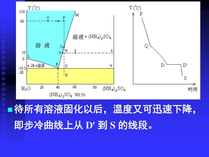待所有溶液固化以后,温度又可迅速下降,即步冷曲线上从