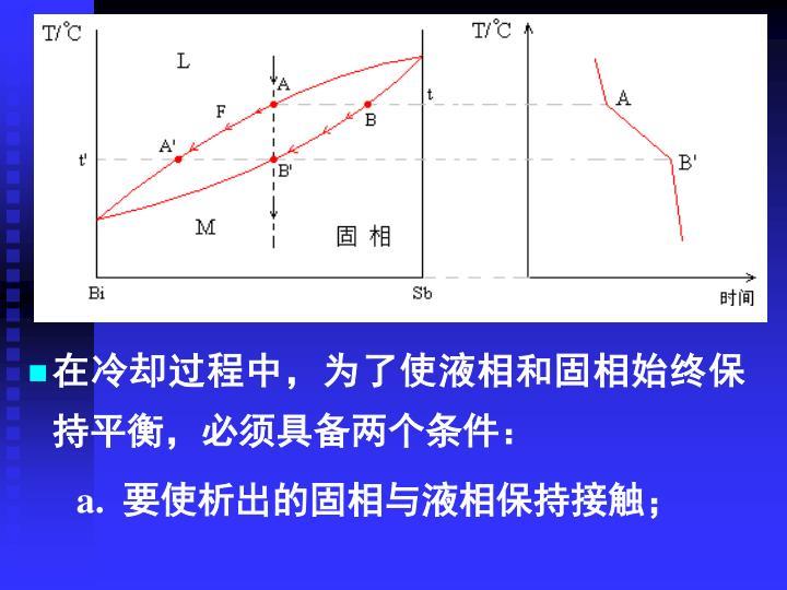 在冷却过程中,为了使液相和固相始终保持平衡,必须具备两个条件: