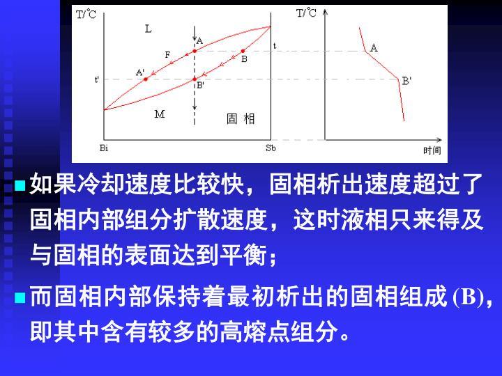如果冷却速度比较快,固相析出速度超过了固相内部组分扩散速度,这时液相只来得及与固相的表面达到平衡;