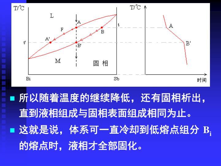 所以随着温度的继续降低,还有固相析出,直到液相组成与固相表面组成相同为止。