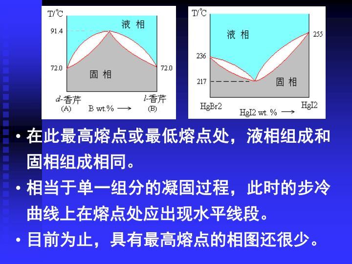 在此最高熔点或最低熔点处,液相组成和固相组成相同。