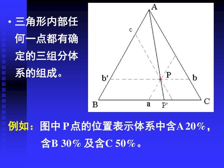 三角形内部任何一点都有确定的三组分体系的组成。