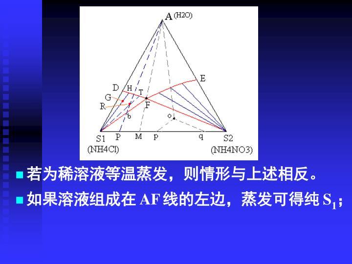 若为稀溶液等温蒸发,则情形与上述相反。