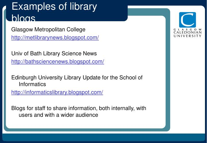 Examples of library blogs