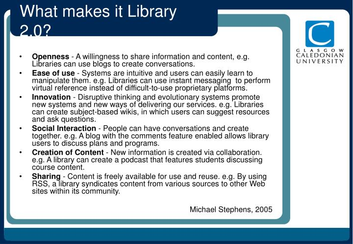 What makes it Library 2.0?