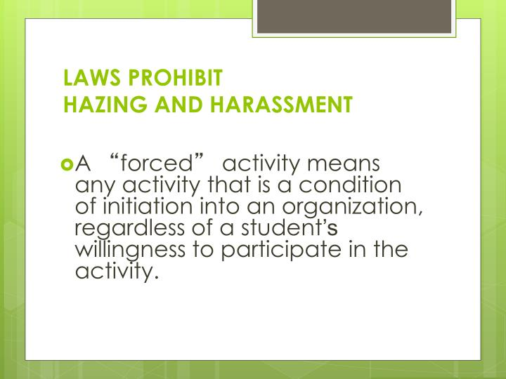 LAWS PROHIBIT