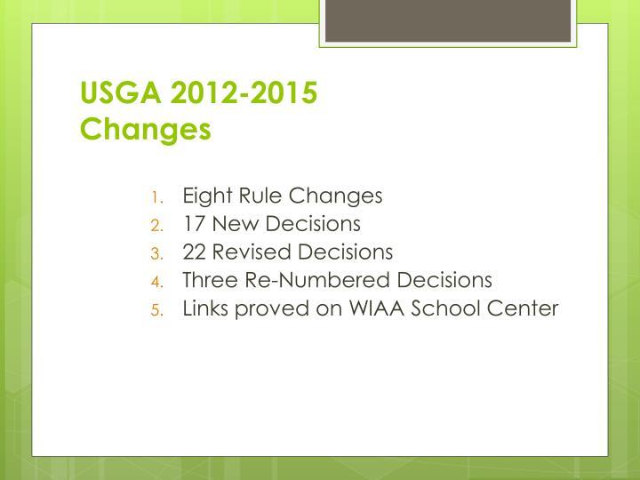 USGA 2012-2015 Changes