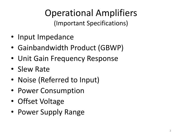 Operational amplifiers important specifications