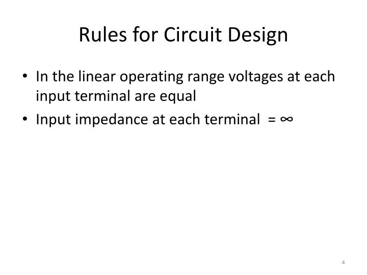Rules for Circuit Design