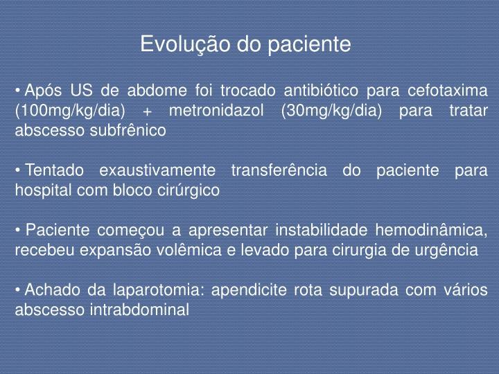 Evolução do paciente