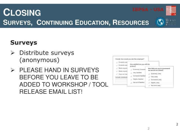 Closing surveys continuing education resources