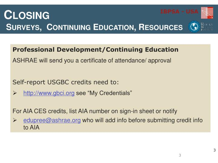 Closing surveys continuing education resources1