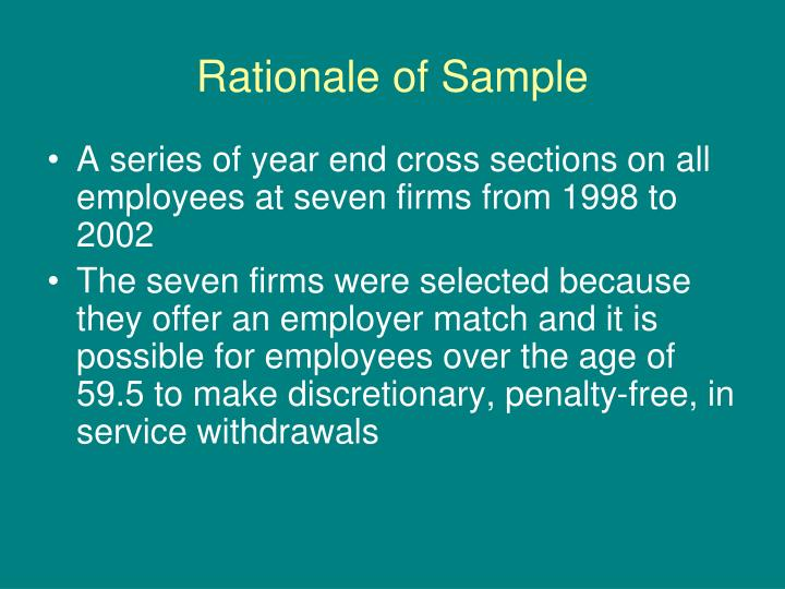 Rationale of sample