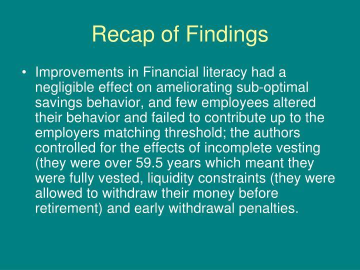 Recap of Findings