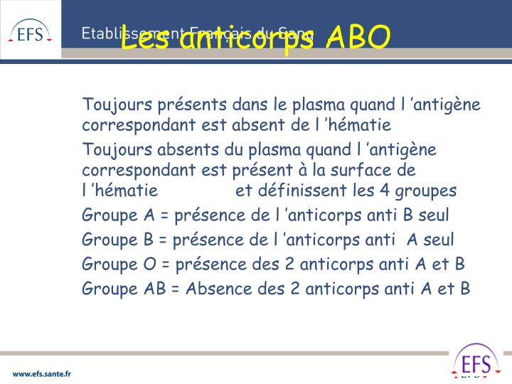 Les anticorps ABO