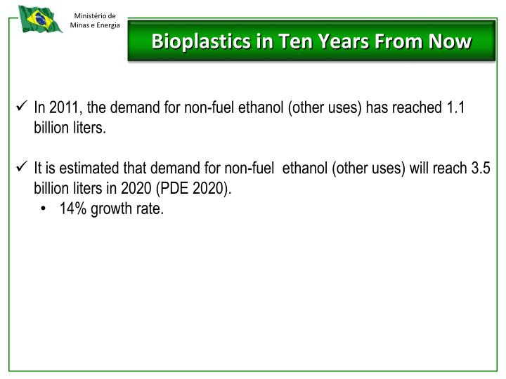 In 2011, the demand for non-fuel ethanol (other uses) has reached 1.1 billion liters.