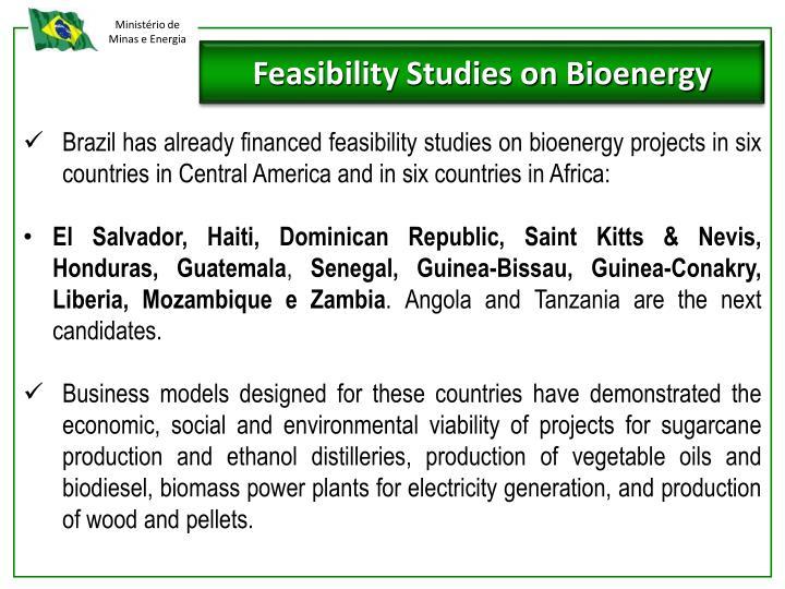 Feasibility Studies on Bioenergy