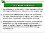 sustainability work on gbep