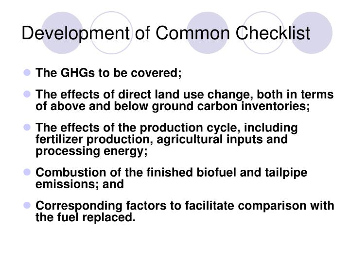 Development of Common Checklist