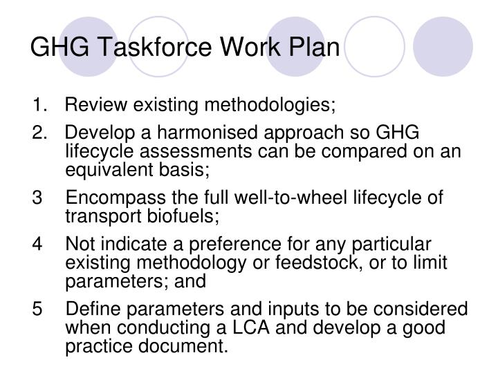 GHG Taskforce Work Plan