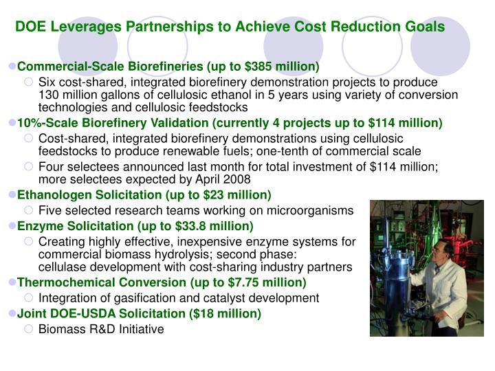 DOE Leverages Partnerships to Achieve Cost Reduction Goals