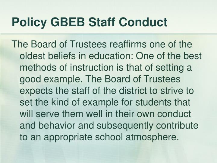 Policy GBEB Staff Conduct