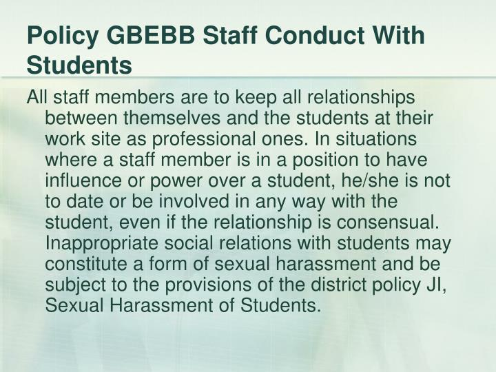 Policy GBEBB Staff Conduct With Students