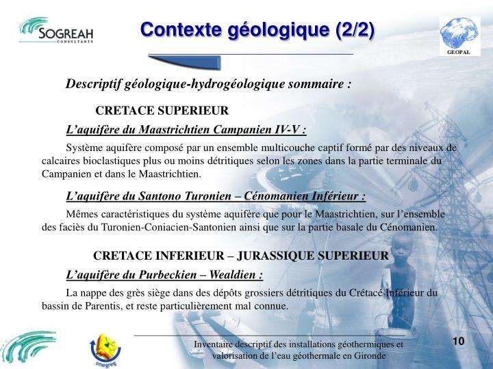 Contexte géologique (2/2)