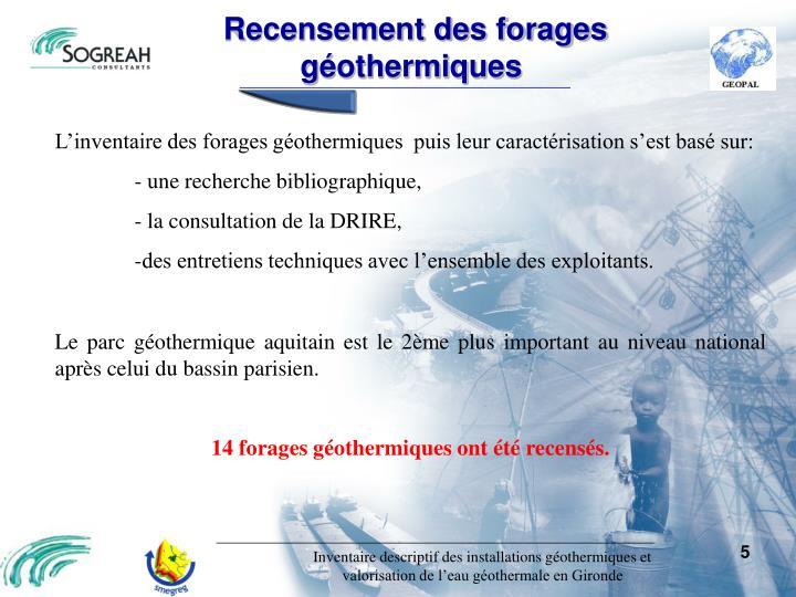 Recensement des forages géothermiques
