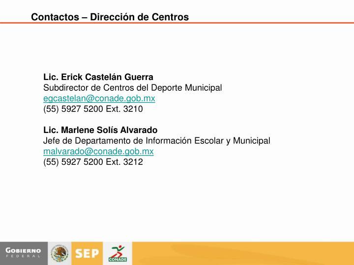 Contactos – Dirección de Centros
