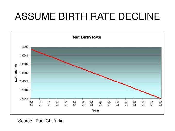 ASSUME BIRTH RATE DECLINE