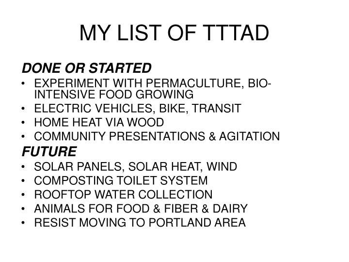 MY LIST OF TTTAD
