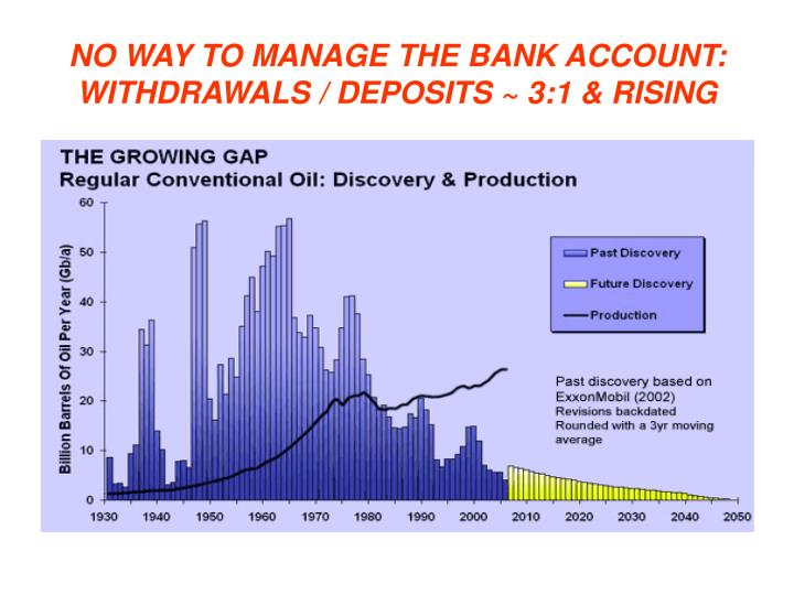 NO WAY TO MANAGE THE BANK ACCOUNT:  WITHDRAWALS / DEPOSITS ~ 3:1 & RISING