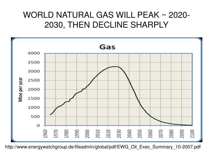 WORLD NATURAL GAS WILL PEAK ~ 2020-2030, THEN DECLINE SHARPLY