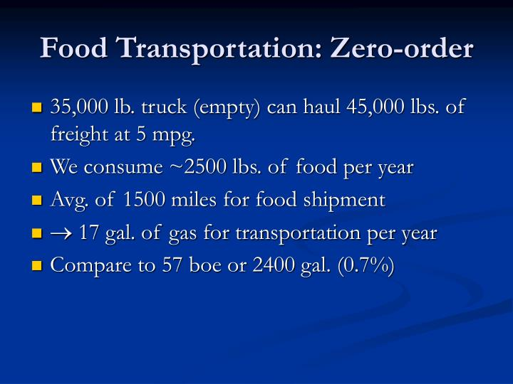 Food Transportation: Zero-order