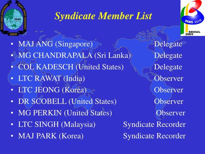 Syndicate Member List
