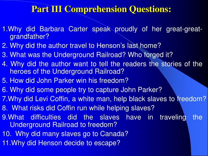 Part III Comprehension Questions: